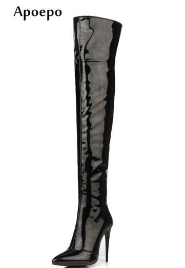 Apoepo women sexy and fashion boots 12cm high heel boots Stretch fabric over the knee boots patent leather thigh high boots static stretch and hold relax techniques over hamstring