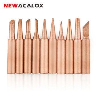 NEWACALOX 10 unids/lote de cobre puro de puntas de pistola para soldar Kit de 900M-T serie libre de plomo de soldadura para herramienta de soldadura para Estación de retrabajo