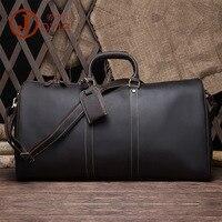 Большой винтажный Ретро вид из натуральной кожи путешествия снаряжение, чемодан сумка мужская ручной Портфель Сумка через плечо сумка 9551