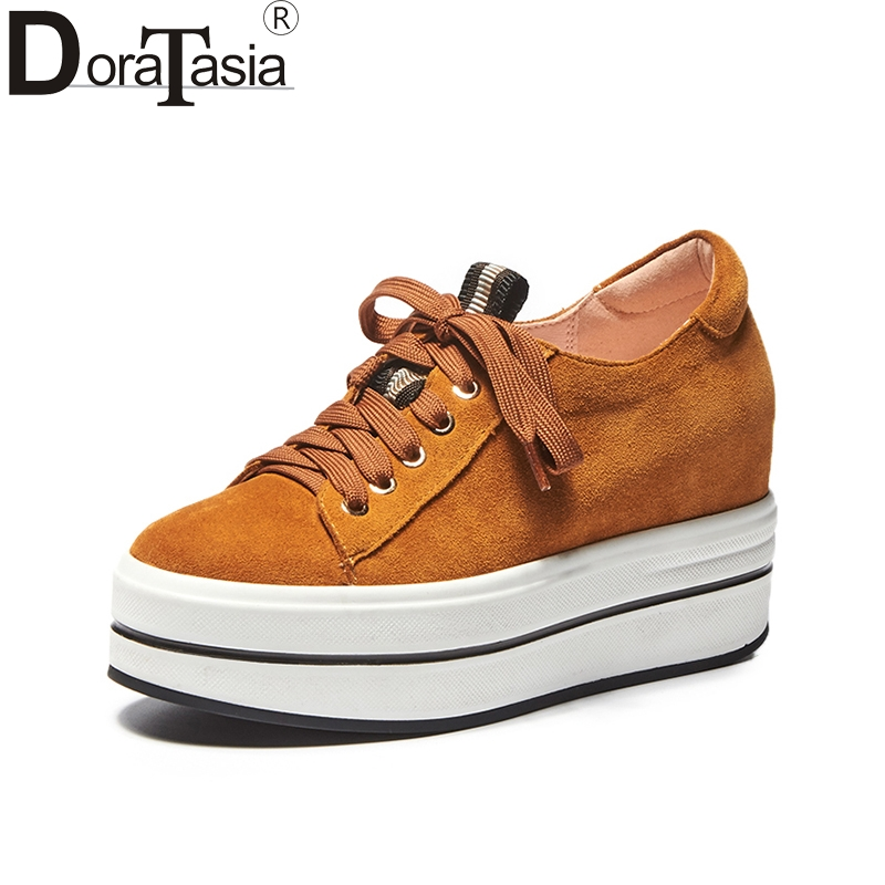 DoraTasia brand new top quality cow suede thick bottom flat platform shoes women fashion spring casual woman shoes footwear women s shoes 2017 summer new fashion footwear women s air network flat shoes breathable comfortable casual shoes jdt103
