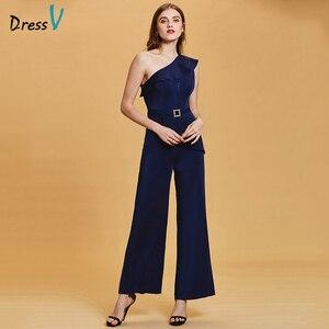 Image 1 - Dressv темно синее длинное вечернее платье, Дешевое женское платье на одно плечо, без рукавов, для свадебвечерние НКИ, официальное платье, вечернее платье, es