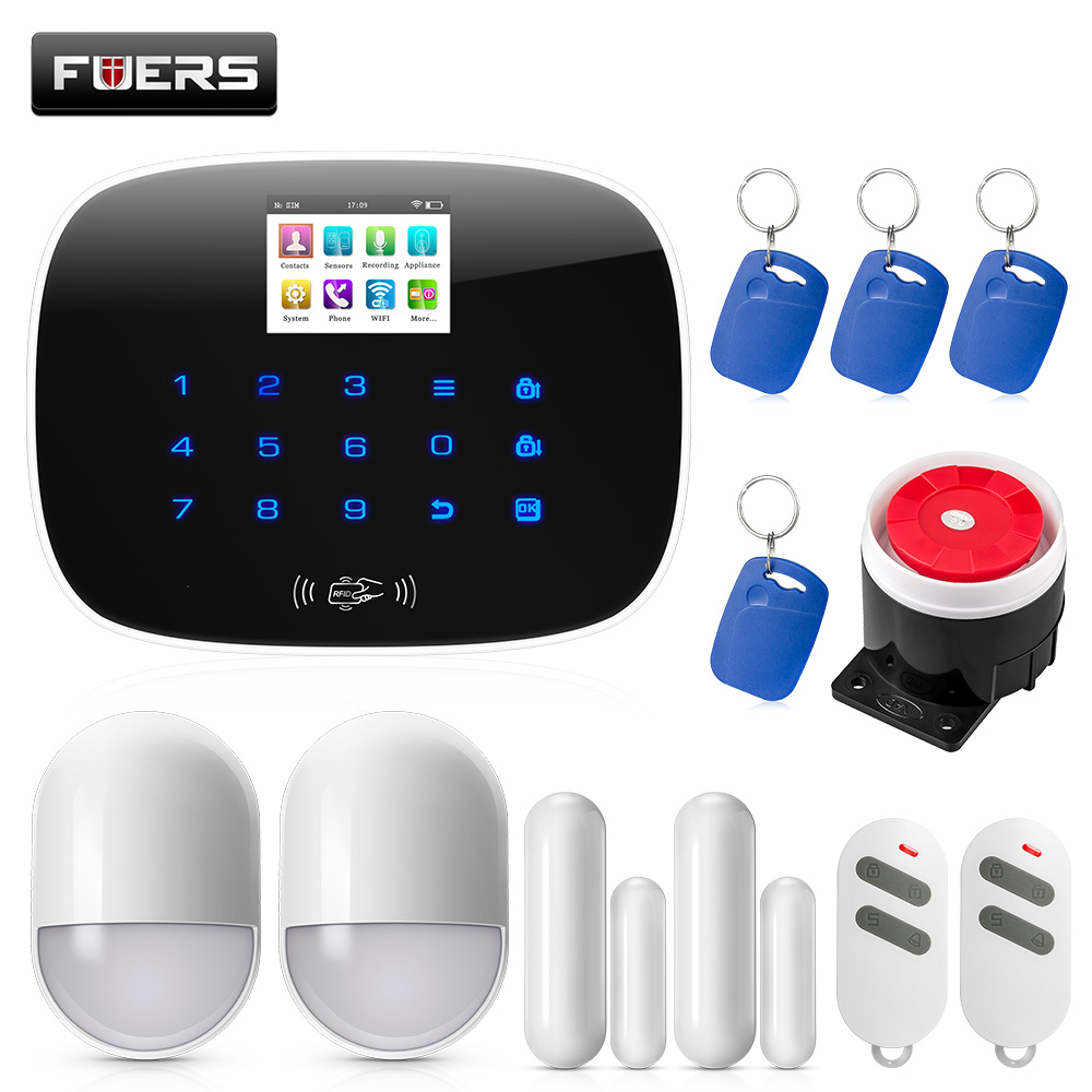 FUERS 3G WiFi GSM Security Alarm System PSTN RFID IOS Android APP Control Wireless Smart Home Burglar Alarm Sensor Alarm DIY kit fuers wireless home security gsm wifi sim alarm system ios android app remote control rfid card pir door sensor siren kit