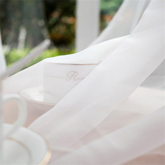 Del Soffitto di nozze Tende Solido Bianco Sheer Tende Per Il Salone Del Poliestere Voile Tulle Tenda Per Camera Da Letto Balcone WP184 & 2