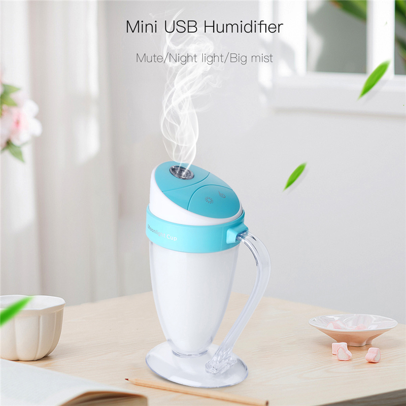 Water Cup USB Air Humidifier Mini Mist Diffuser Spray Air Purifier With 7 Colorful LED Night Light Humidificador For Home Office mini air conditional fan support humidifier with night light usb rechargeable water mist fan portable for home office