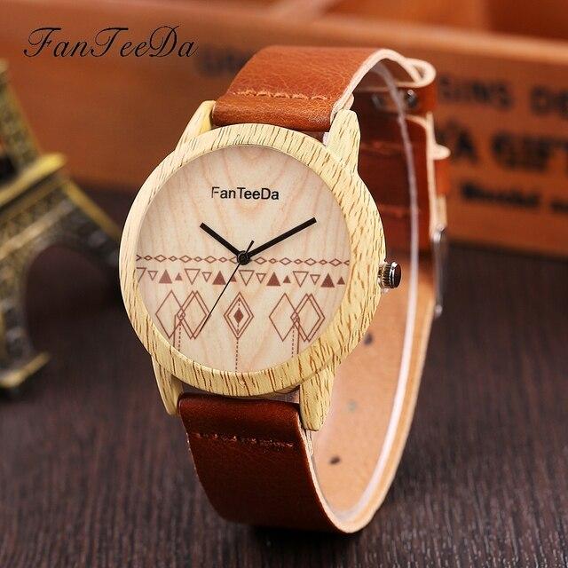 e1c10f48b96 FanTeeDa Moda Relógio De Madeira Mulheres Vestido Relógio de Quartzo  Relógios Casual Pulseira de Couro Relógio