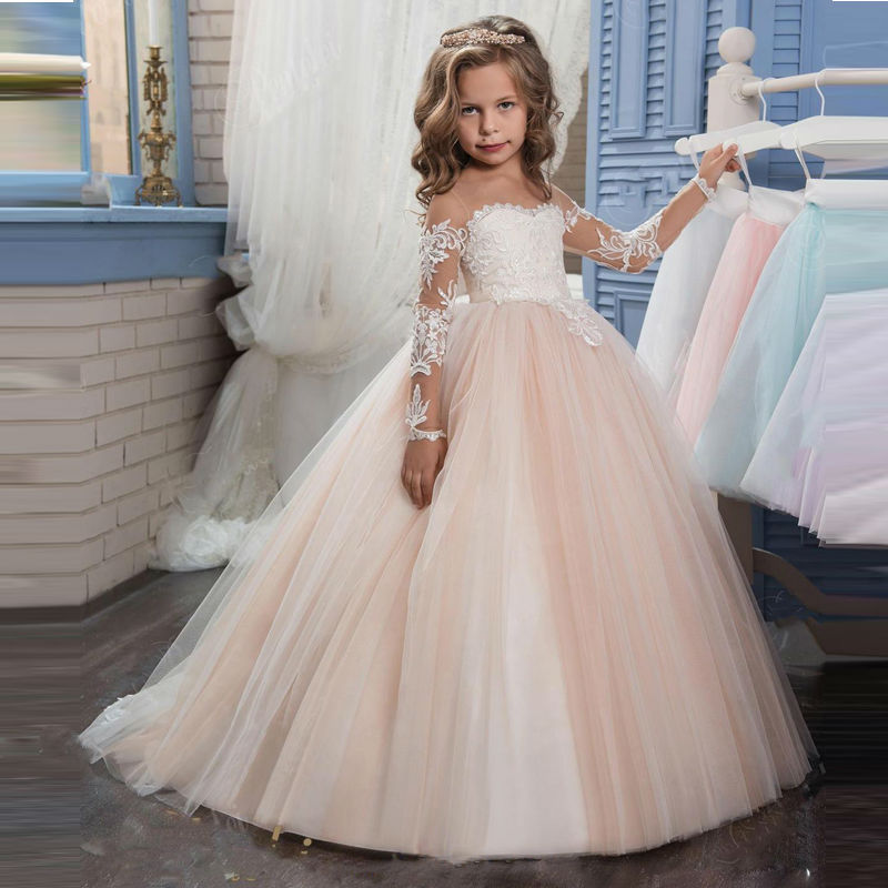 New Champagne Puffy Lace Flower Girl Dress for Weddings Long Sleeves Ball Gown Girl Party Communion