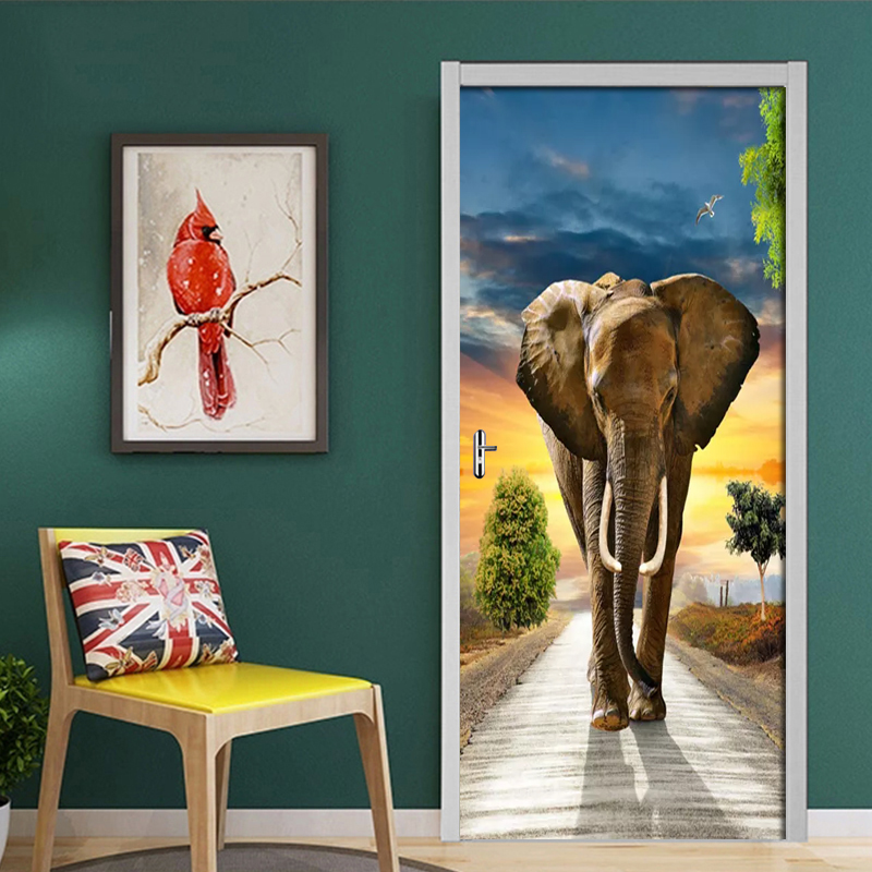 Door Mural Christmas Decorative 3D Door Sticker Self Adhesive Elephant On The Road Wallpaper Poster Home Decor 3D Wall Stickers