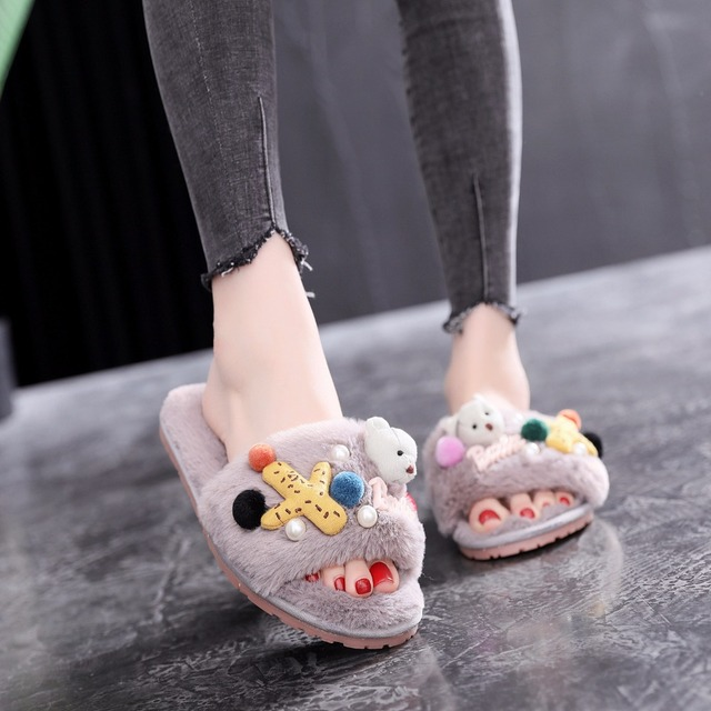 e25840cc297682 sea star pendant fur slippers women pompon furry slides girls cartoon bear  pink fur flip flops pearl beads fur sandals mule s336