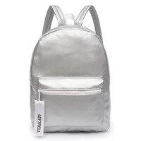Glossy Backpack Leather PU Girl Glossy Backpack School Bag Women Rainbow Colorful Silver Glossy Backpack