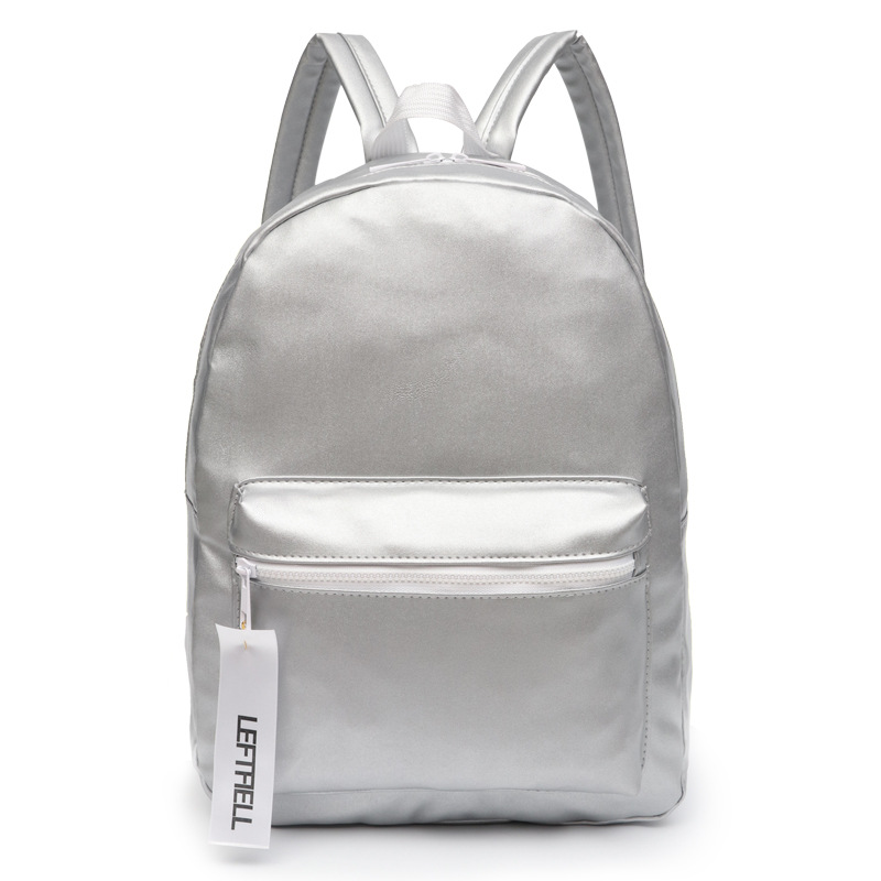 Women Silver Backpack Holographic Leather Bag Brand Korean