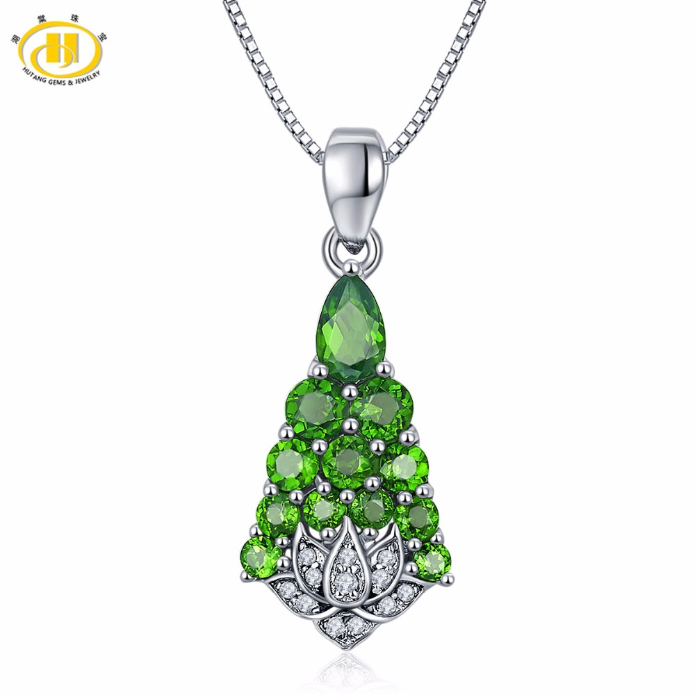 Hutang Solid 925 Sterling Silver 1.74ct Natural Gemstone Chrome Diopside Pendant & Necklace Fine Jewelry For Women