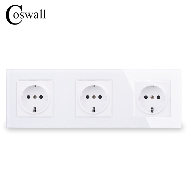 COSWALL Wall Crystal Glass Panel 3 Gang Power Socket Plug Grounded 16A EU Standard Electrical Triple Outlet White Black Grey