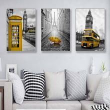 Yellow Telephone Booth Umbrella Bus Art Wall Poster American Red Print Canvas Painting Living Room Home Decoration