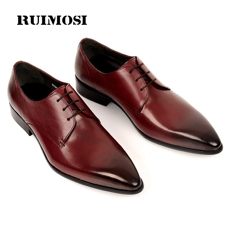 RUIMOSI 2017 Luxury Formal Brand Man Dress Wedding Shoes Genuine Leather Derby Oxfords Pointed Toe Men's Flats For Bridal BD57