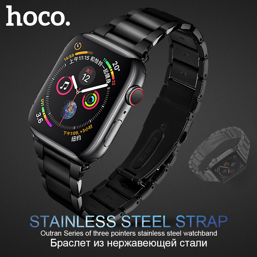 HOCO 316L Stainless Steel Watch Strap for Apple 5 band 40mm 44mm Link Wristb Bracelet Replacement Band iWatch 1 2 3 4