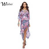 Weljuber Women Bohemian Prints Dress 2018 Summer Deep V Neck Boho Maxi Dress Sexy Backless Beach