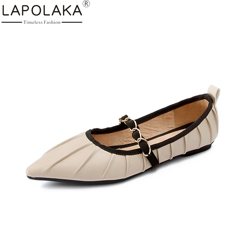 LAPOLAKA 2018 Top Quality Genuine Leather Spring Summer Shoes Women Flats Comfortable Date Party Cow Leather Woman Shoes ribetrini 2018 top quality slik upper crystals slip on spring summer shoes women flats comfortable date easy for walking