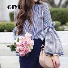 GIYU Long Flare Sleeve Women Sexy Tie-up Shirts Striped Tops Casual O Neck Blouse Bow camiseta mujer