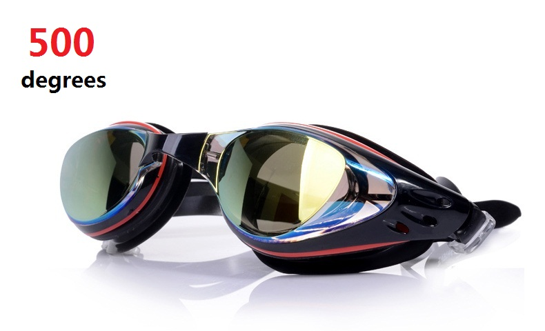 Unisex 500 Degrees Swim Goggles  Coated,Scratch Resistant Anti-Fog UV Protection Nearsighted Allergy-Free Incl Ear Plugs