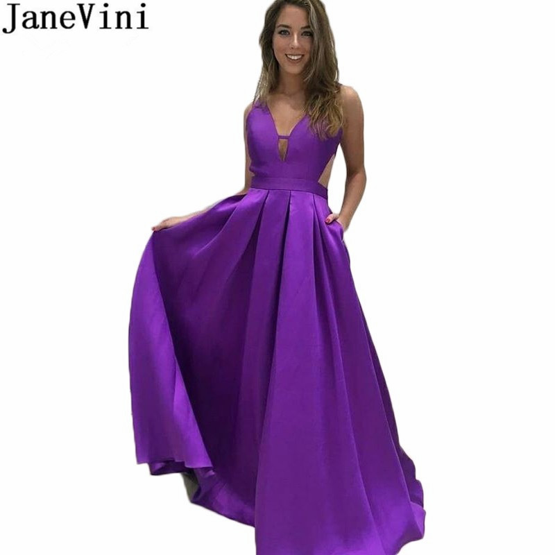 JaneVini V-Neck Purple   Bridesmaid     Dress   with Pockets Long Satin   Bridesmaids   Party Gowns 2019 Backless A Line Wedding Guest   Dress
