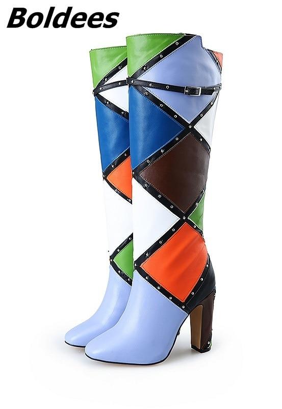 Remaches Talón Color Rodilla Hebilla Mujeres Decoración Motocicleta Diseñador Botas Moda Tacones De Bloque Emparejado Chunky FEwqOwxYv
