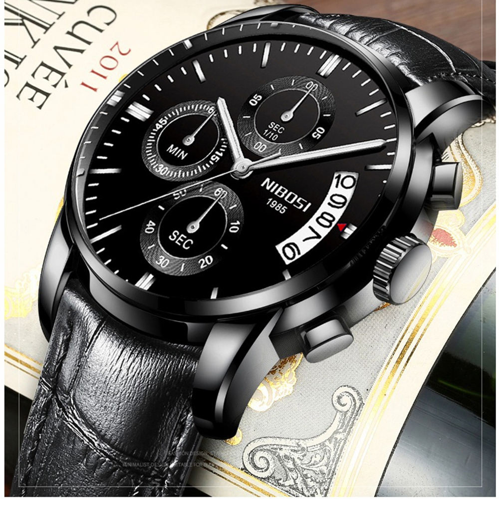 NIBOSI Mens Watches Top Brand Luxury Premium Luxury Fashion Luminous Waterproof Watch High-end Calfskin Pure Steel Strap Blue    (11)