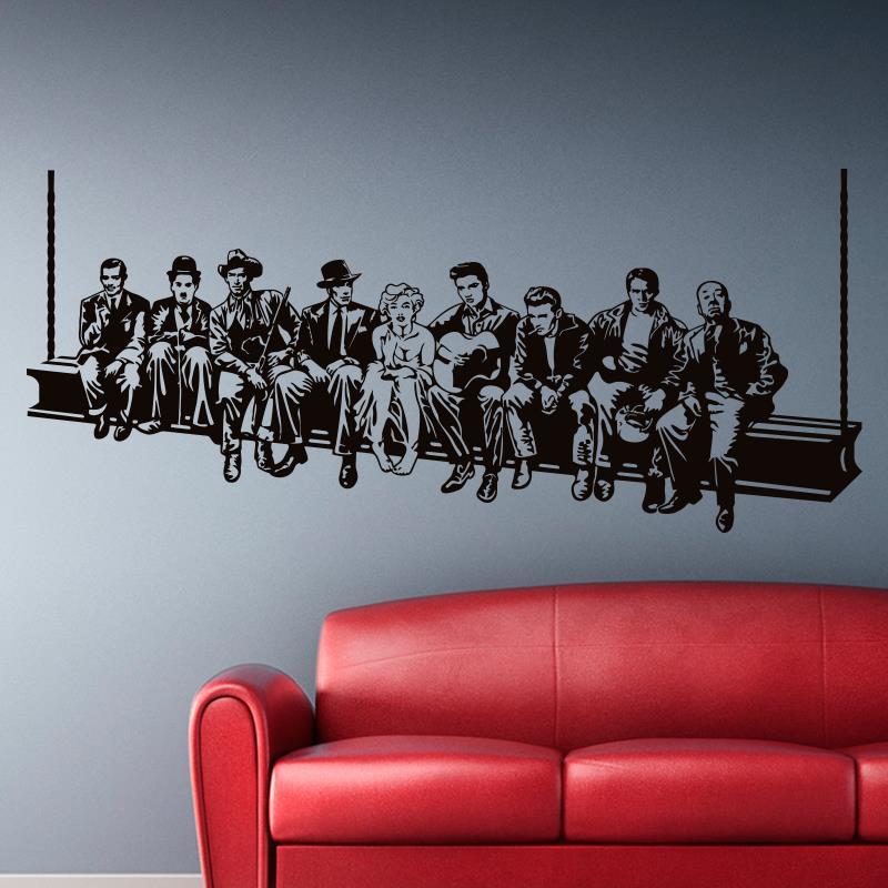 Hollywood Déjeuner Mur autocollant Film étoiles stickers Muraux la maison de style Américain décoration Murale maison décor pour le salon ou chambre