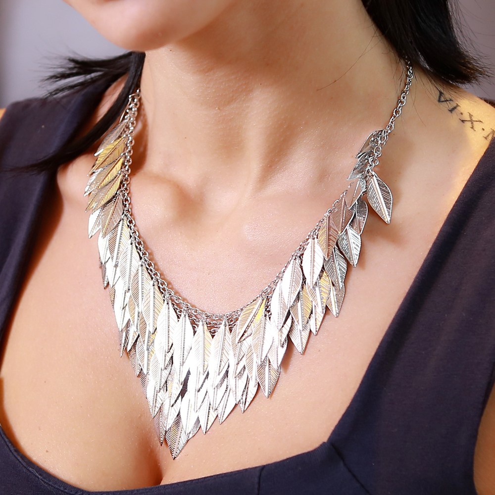Charm Silver Leaves Pendants Power Necklaces For Women Choker Necklace Chain Necklace Clothing Jewelry Accessories Hot Sales цена и фото