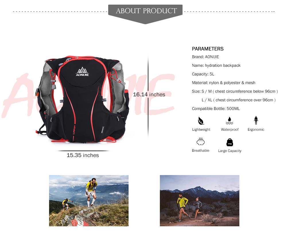 Foto of parameters breathable hydration vest pack for cycling. Outdoor hydration rucksack 1.5L for men