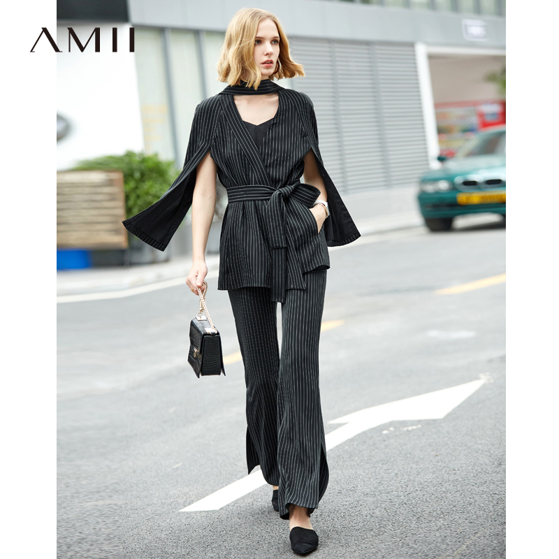 Amii Minimalist 2 Piece Outfits for Women Fashion 2019 Spring Lace Up Striped Cloak Blazers Side