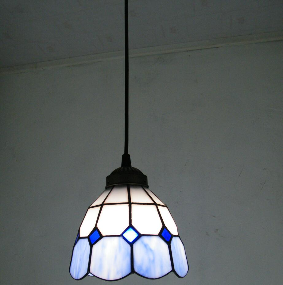 6 corridor Simple Art Pendant Lights Mediterranean blue white pattern Handmade Multicolored Glass Tiffany LAMP Corridor