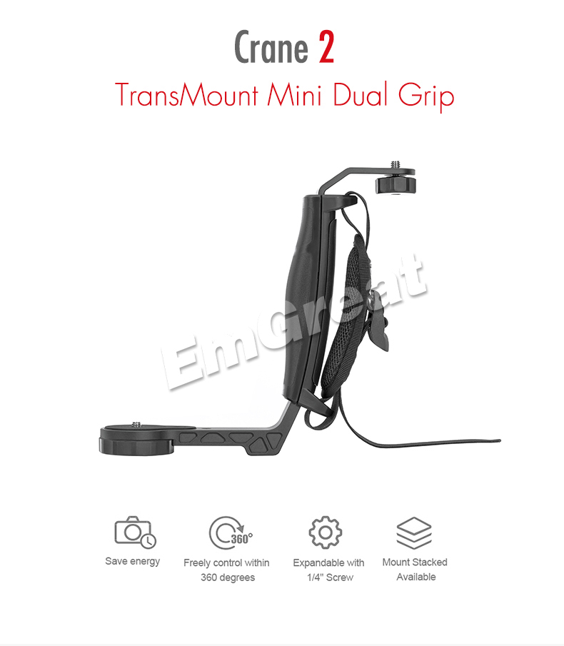 Zhiyun Crane 2 Gimbal Accessories L Bracket TransMount Mini Dual Grip for LED Light /Microphone / Monitor Similar as Dual Handle 1