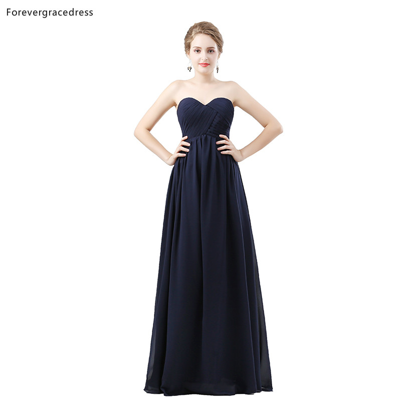Forevergracedress Dark Navy Blue Bridesmaid Dresses A Line Chiffon Wedding Party Guest Maid Of Honor Gowns Plus Size Custom Made
