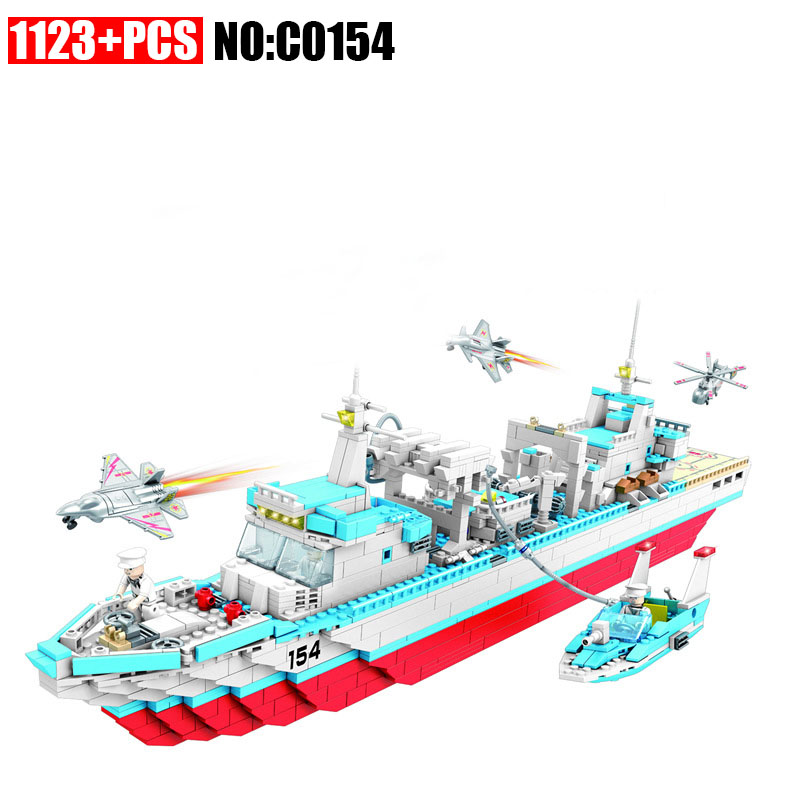 1223PCS C0154 Military series depot ship Building Blocks set Great Gift DIY Educational Funny Bricks Toys for Children xipoo 6 in 1 blue military ship diy model building blocks bricks sets educational gift toys for children boy friends