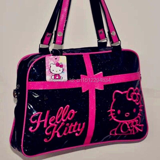 2017 Hot New Hello Kitty Bags Classic Tote Bag Women Purse Handbag Black Pink