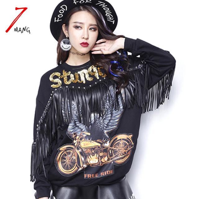 2017 primavera rua águia preta de lantejoulas camisola das mulheres com tassel o pescoço carta impressão pullover