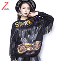 2017 spring women's street black eagle sequins sweatshirt with tassel o neck letter print pullover