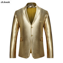 CH.KWOK Shiny Gold Sliver Black Mens Casual Blazers Two Buttons European Male Suits Jacket Slim Fit Polyester Mens Outwear Coat(China)