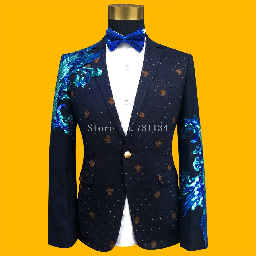 Bleu 2017 Bal Picture Partie Brodé as Slim Mâle La Paillette Picture Chanteur Hommes Mode Performance As Taille Costumes Or Et Plus De w6Ctrqw