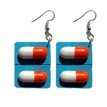 Creative Pills Capsule Wooden Drop Pendant Women Hook Earrings Jewelry Gift New(China)