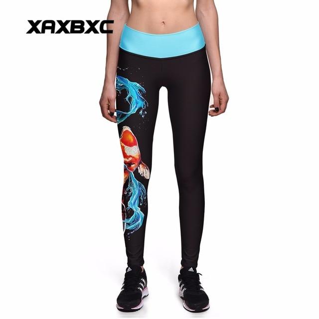 74d89ae1f876ee NEW 0017 Sexy Girl KOI Fancy Carp Fish goldfish Prints Slim High Waist  Workout Fitness Women