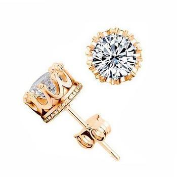 Fashion Jewelry Crown Women Classic Shining Zircon Small Stud Earrings Gold Color Ears Stud For Men Crystal Earrings WE132 3