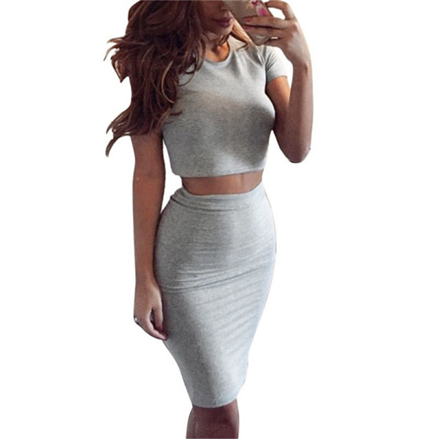 d4b693b3fd Summer Women Two Piece Crop Top Women's Club Skirt Outfits Midi Skirts Sexy  Party Bodycon Vestidos