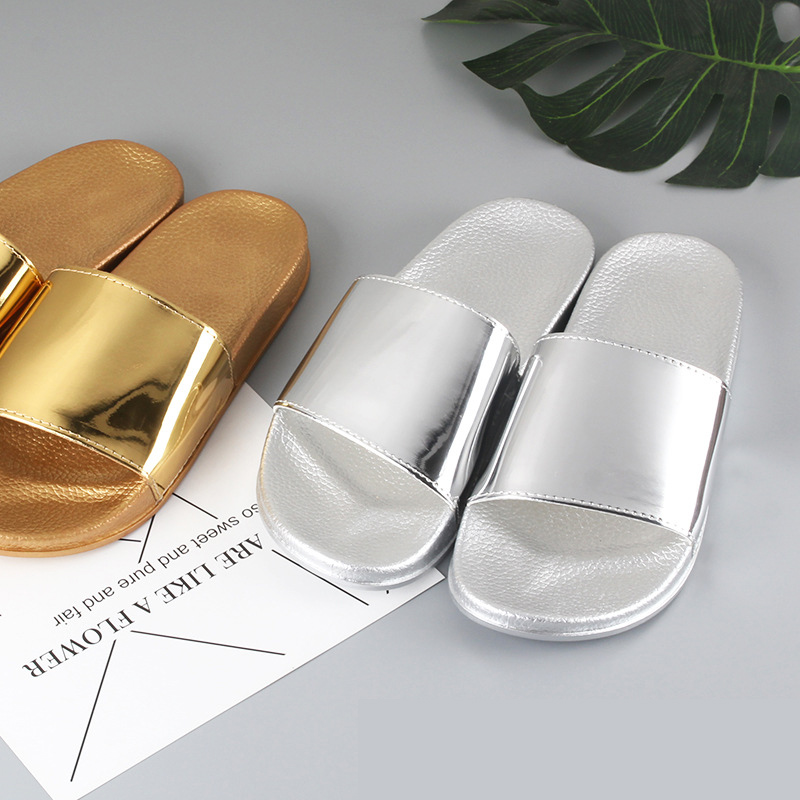 Summer Slippers Bling Women Slides Soft Sole Glitter Indoor & Outdoor Sandals Beach Slides Flip Flops Women Shoes Gold Silver 2