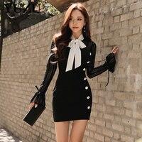 섹시한 Bodycon 붕대 드레스 2017 한국어 스타일 화이트 블랙 레이스 여성 사무실 드레스 나비 넥타이 중공