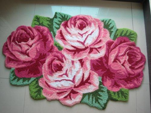 4 tapis de sol tapis Rose tapis fait main tapis moderne anti-dérapant tapis de cuisine, tapis en forme de Rose