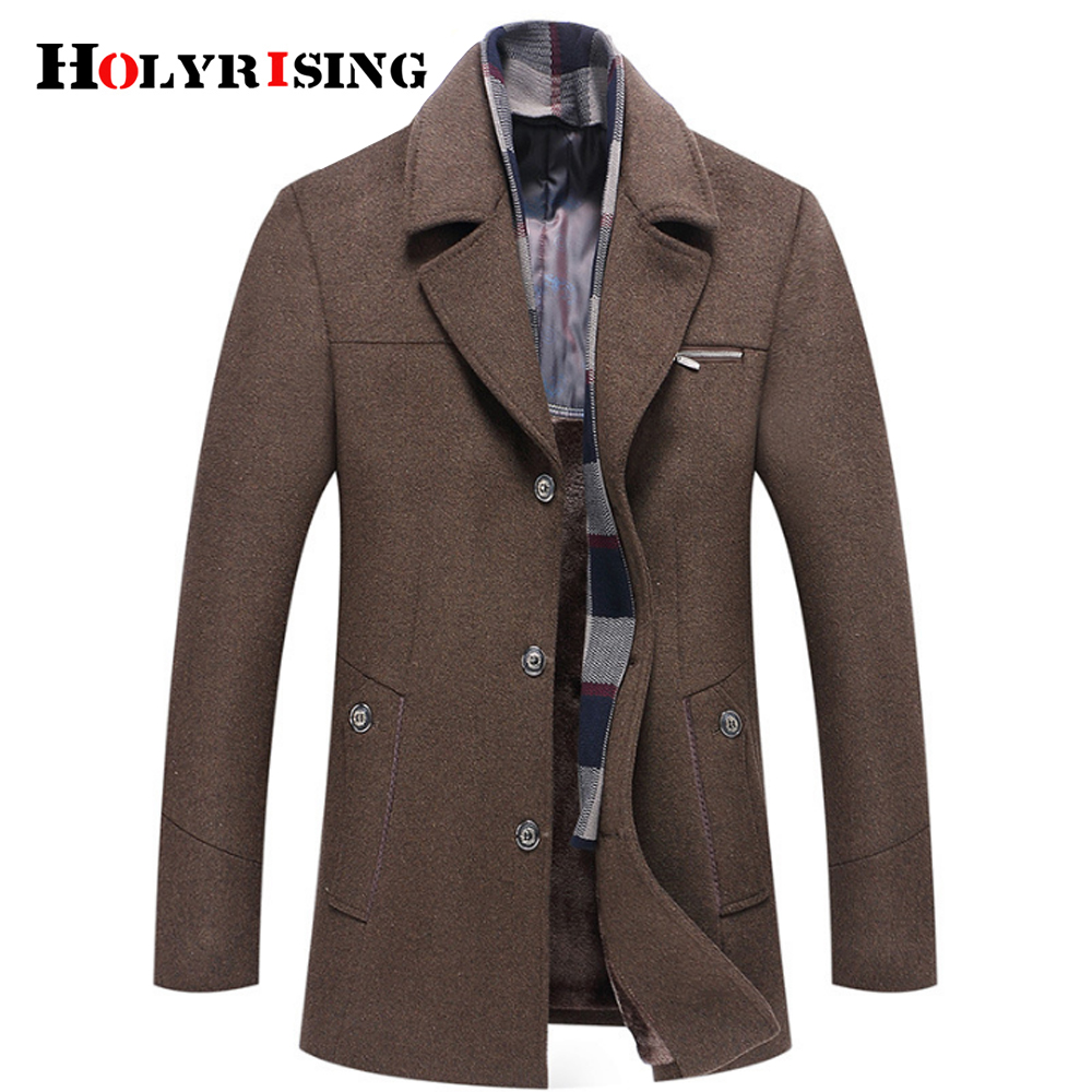 Holyrising Winter Coat Men Abrigo Hombre M-6XL Size Abrigo Hombre Invierno Wool Coat Men Thick Wool Jacket 4 Color 18438-5(China)