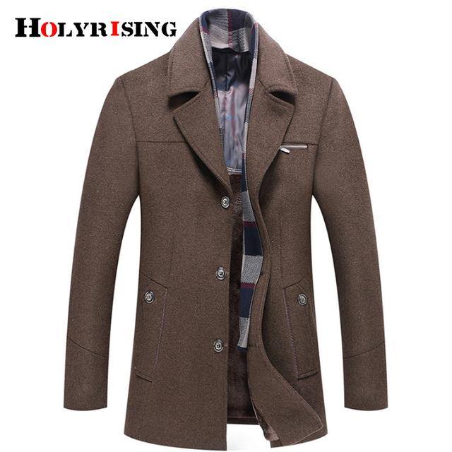 Holyrising winter coat men abrigo hombre M-6XL Size abrigo hombre invierno wool coat men Thick Wool Jacket 4 Color 18438-5