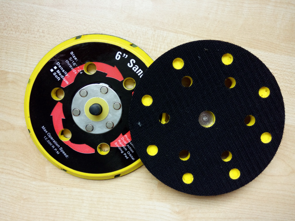 15 holes 2pcs/set 6 inch air sanding disc pad , for air sander with vacuum, for 150mm pneumatic sander 6, Thread M8*1.0