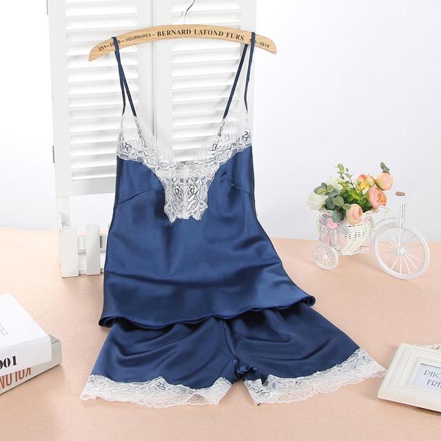 2016 nuevo de Las Mujeres Sexy Tamaño Pijama de Satén De Seda ropa de Dormir de Encaje Pijama Femme Conjunto Sin Mangas V-cuello de la Manera de Dormir Ropa de Dormir